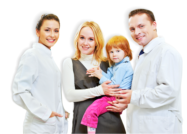 two pharmacists with a mother carrying her daughter