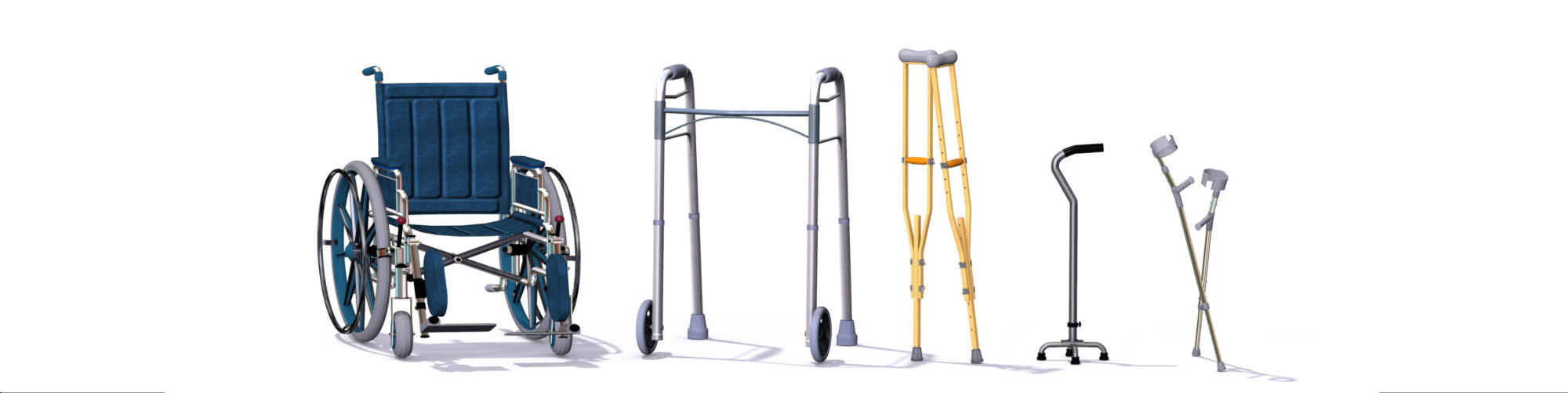 A collection of mobility aids including a wheelchair, walker, crutches, quad cane